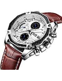 CIVO Mens Watch Multifunctional Chronograph Date Calendar Waterproof Analogue Quartz Watches with Brown Genuine Leather Band Luxury Casual Business Fashion Wrist Watch for Men with White Dial