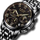 Montre Homme Acier Inoxydable Montre Bracelet de Luxe Mode Étanche Chronographe Date Calendrier Quartz Analogique Montre pour Homme