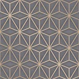 Fine Decor Pulse Star Geometrische Tapete Anthrazit / Kupfer FD42350