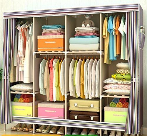 Armario de madera maciza Simple Armario de tela grande adulto con armario de refuerzo de algodón plegable ( Color : # 1 )