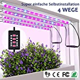 MIXC LED Pflanzenlampe Vollspektrum 28W 56 LEDs Grow Light mit 5 automatisch Timer (3H/6H/9H/12H/15H) On Off, Dimmbar 5 Stufen für Samen Pflanze Blumen mit 10 Pflanzenetiketten 2 Gartengeräte [4-Pcs]