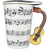 Giftgarden Tazza Musicale in Ceramica con 3D Manico Chiatarra, 400ml