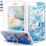 Feyten Cover iPhone 8 Plus/iPhone 7 Plus con Vetro Temperato [2 Pack], Bling Liquido Custodia Brillantini Luminosa Sabbie Case per iPhone 8 Plus/iPhone 7 Plus (Blu)