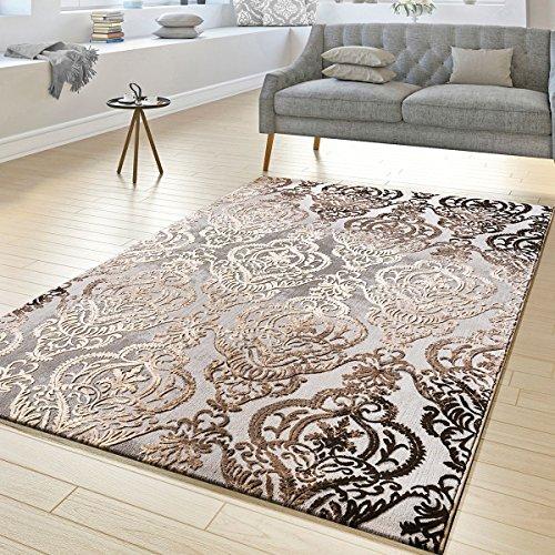 T&t design tappeto salotto astratto ornamento disegno a pelo corto tappeto mélange grigio beige, größe:160x230 cm