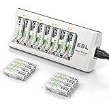EBL Chargeur de Piles AA/AAA 8 Slots- avec 16pcs Piles AAA Rechargeables 1100mAh Haute Performance avec Boîte de Piles