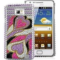 Klemmhülle Herz Herzen Schutzhülle Case Cover Schale Hülle Samsung Galaxy S2 i9100 schick elegant Frauen Mädchen weiblich glänzend Strass Handyhülle