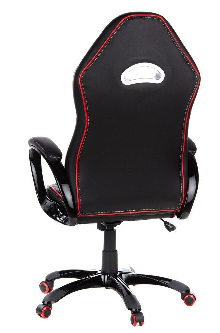 hjh OFFICE – 621720 silla gaming PACE 100 piel sintética negro/rojo, cómodo, con apoyabrazos acolchados, elegante base negra, inclinable, respaldo alto, silla racing, silla oficina, silla giratoria