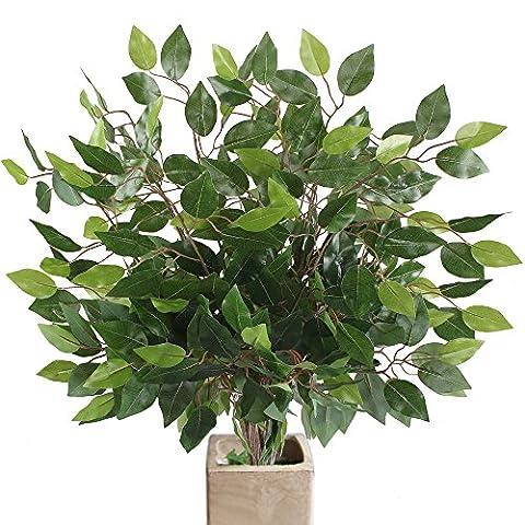 MIHOUNION 12 Bouquets Plantes artificielles de Ficus Vente en gros Feuilles de Ficus en plastique Faux Feuillage Réaliste Feuillage Vert