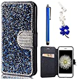 Wallet Cover per Samsung Galaxy S6 Edge G925, Premium Pelle Folio PU e Bling Glitter Brillanti 3D Strass Cover - Bonice Custodia Morbido Case Libro Leather, Magnetico Flip Protettiva Portafoglio, ID Slot per Scheda, Chiusura Magnetica Case Cristallo Diamante Protettiva - Blu immagine