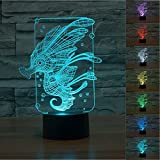 SUPERNIUDB 3D Novelty Sea Horse Night Light 7 Color Change LED Table Lamp Xmas Toy Gift