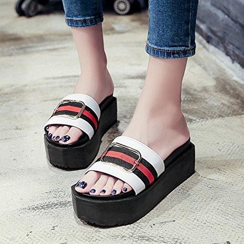 RUGAI-UE Donne pantofole estate fondo spesso pantofole di moda piatto High-Heeled antiscivolo per scarpe White
