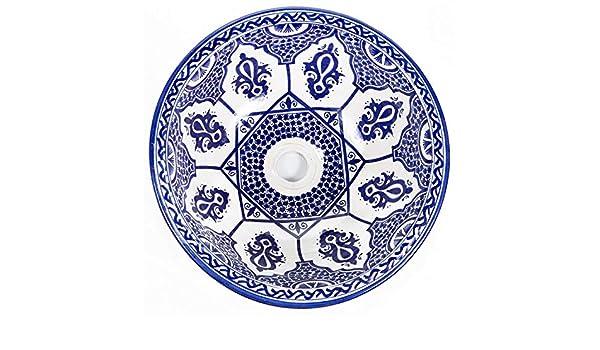 Moroccan Blue countertop Sink Saba Arabic Pattern wash Basin for Bathrooms Toilets Guest Toilet Wash Basin 42 x 18 cm
