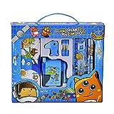 Himki Schreibwaren Set 10-teilig Cartoon Schulbedarf Geschenkbox Mitgebsel für Kinder (Blau)