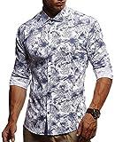 LEIF NELSON Herren Kurzarm Hemd Slim Fit Langarm Kurzarmhemd Freizeithemd Freizeit Party T-Shirt LN3525; L, Weiß-Blau