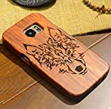 Galaxy Note3 Shell, Handmade Rosewood Wooden Sculture Texture Cover, Newstars Ultra Slim Thin Combined Wood Protect Case For Samsung Galaxy Note 3 Mongolia Wolf Totem