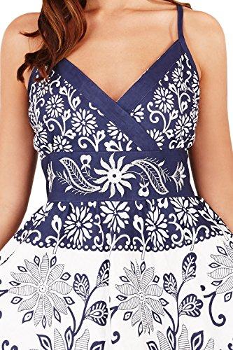 Pistachio Femmes À Rayures Fleur Motif Cachemire Imprime Croisé Front Robe Bleu Marine