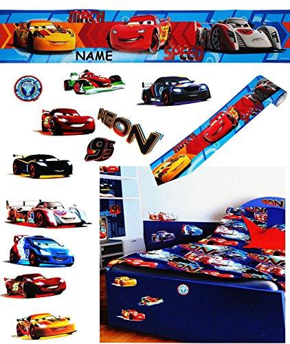 """Preisvergleich Produktbild 12 Stück: XL Wandsticker + Bordüre - """" Disney Cars / Lightning Mc Queen """" - incl. Name - selbstklebend + wiederverwendbar - Aufkleber für Kinderzimmer - Wandtattoo / Sticker Kinder - Jungen - Auto Mcqueen Neon Fahrzeuge - Kinder - Wandaufkleber - Postersticker - Deko - Poster - Tattoo"""