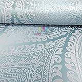 Grandeco Kismet Damask Muster Tapete Metallische Glitzern Motiv Art Deco - Türkis A17702
