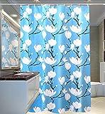 MXueei ZfgG Blauer Duschvorhang-Weicher umweltfreundlicher Wasserdichter Mehltau-feuchtigkeitsabweisendes schmutziges PEVA-Gewebe-Rostschutz-Metallknopfloch-Weißes Blumenmuster -Dauerhaft