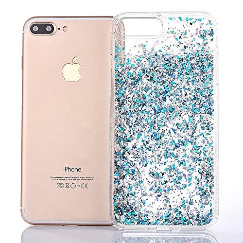 """iPhone 7Plus Hülle, iPhone 7Plus Handytasche, CLTPY 3D Dynamisch Treibsand Flüssige Fließend Glitzer Sparkle Diamant Hartplastik & Soft TPU Hybrid Transparent Schale Case für 5.5"""" Apple iPhone 7Plus ( Blauer Diamant"""
