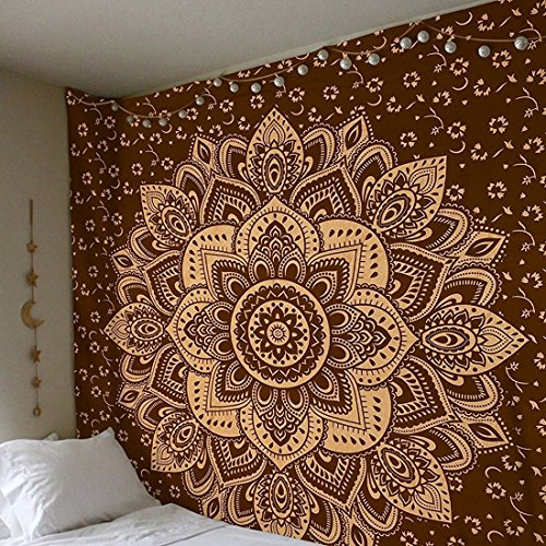 Oro Mandala Ombre tapiz colgante de pared Boho bohemio Hippie tapices indio gitano dormitorio decoración dorado colcha hippie meditación Yoga mat alfombra 59x71 pulgadas