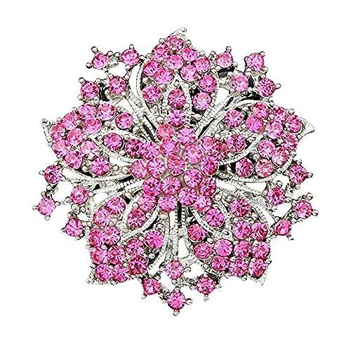 Contever Broche Pin de Bling Bling Strass Cristal Mode Bijoux Chic Bauhinia Fleur Grappe -- Rose Rouge