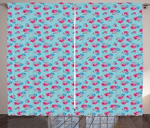FAFANIQ Blue and Pink Curtains, Vintage Inspired Pattern with Bicolour Summer Roses Graphic, Living Room Bedroom Window Drapes 2 Panel...
