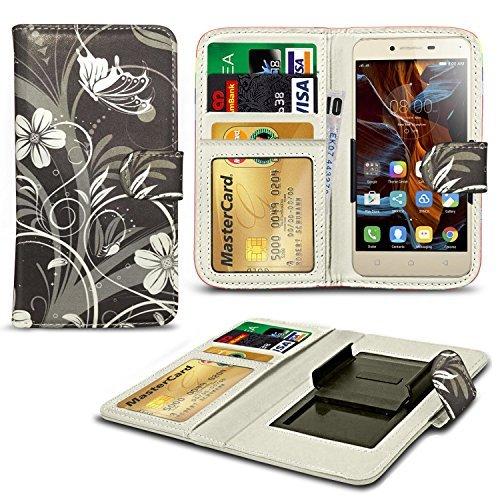 Preisvergleich Produktbild N4U Online - Verschiedenen Muster Clip On Serie PU- Leder Brieftasche Buch Hülle Für Xiaomi Mi 4 LTE - Schwarze Blumen