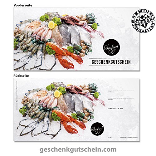 """10 Stk. Premium Geschenkgutscheine Gutscheinkarten """"DIN lang"""" Vorderseite hochglänzend für Feinkostläden und die Gastronomie, Fisch & Meeresfrüchte"""