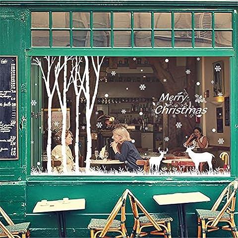 Wall stickers decorazione murale?Natale decorationsChristmas poster vetrofania ,835 foresta natale , Re