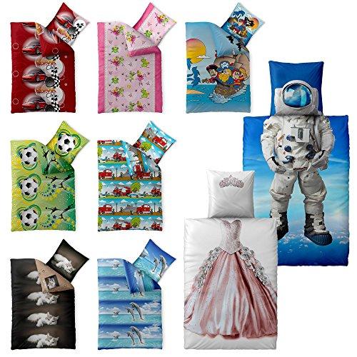 2-tlg. Kinder-Bettwäsche 135 x 200 cm Baumwolle Renforcé 4-Jahreszeiten CelinaTex Bettbezug Fashion Fun 5000392 blau Astronaut