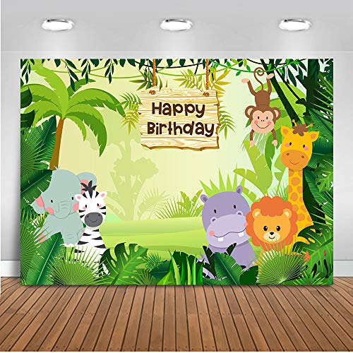 fari-Hintergrund 7x5ft Waldtiere Alles Gute zum Geburtstag-Thema-Foto-Hintergründe Wilde Tiere Zoo-Kindergeburtstagsfeier-Fotografie-Hintergrund ()
