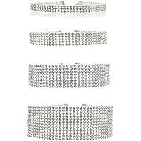 Floweralight - Set di 4 collane girocollo con strass trasparenti in resina e plastica
