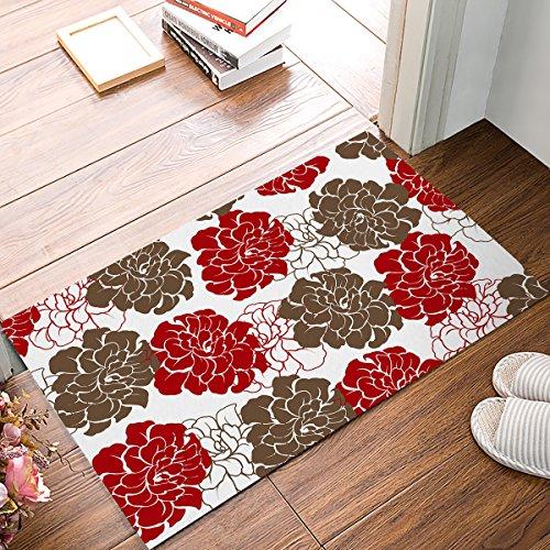 Libaoge Paillasson pour intérieur/extérieur Motif Marguerites Rouge/Marguerites 40 x 61 cm, Tissu, Pivoine, 16x24