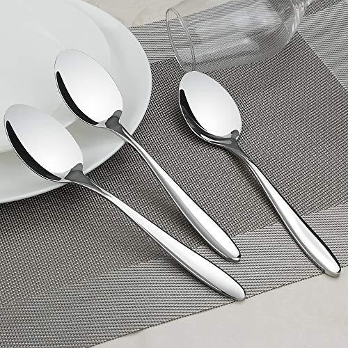 Ponpong Cucchiai rotondi in acciaio INOX 12 Pezzi Colore Nero