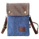 La Derkia Vintage Kleine Handy Umhängetasche, Canvas Universal Damentasche Handytasche zum Umhängen Geldbörse Kleine Tasche für Frauen Mädchen Kinder-Dunkelblau