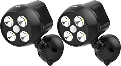 NICREW Außenleuchten Mit Sensor, Drahtlose Sicherheit Bewegungsmelder Licht, 600-lumen 4-LED Wetterfest Batteriebetrieben Wandleuchte Strahler, Sicherheitslicht im Freien Für Outdoor Gardon, Vordächer Und Treppen
