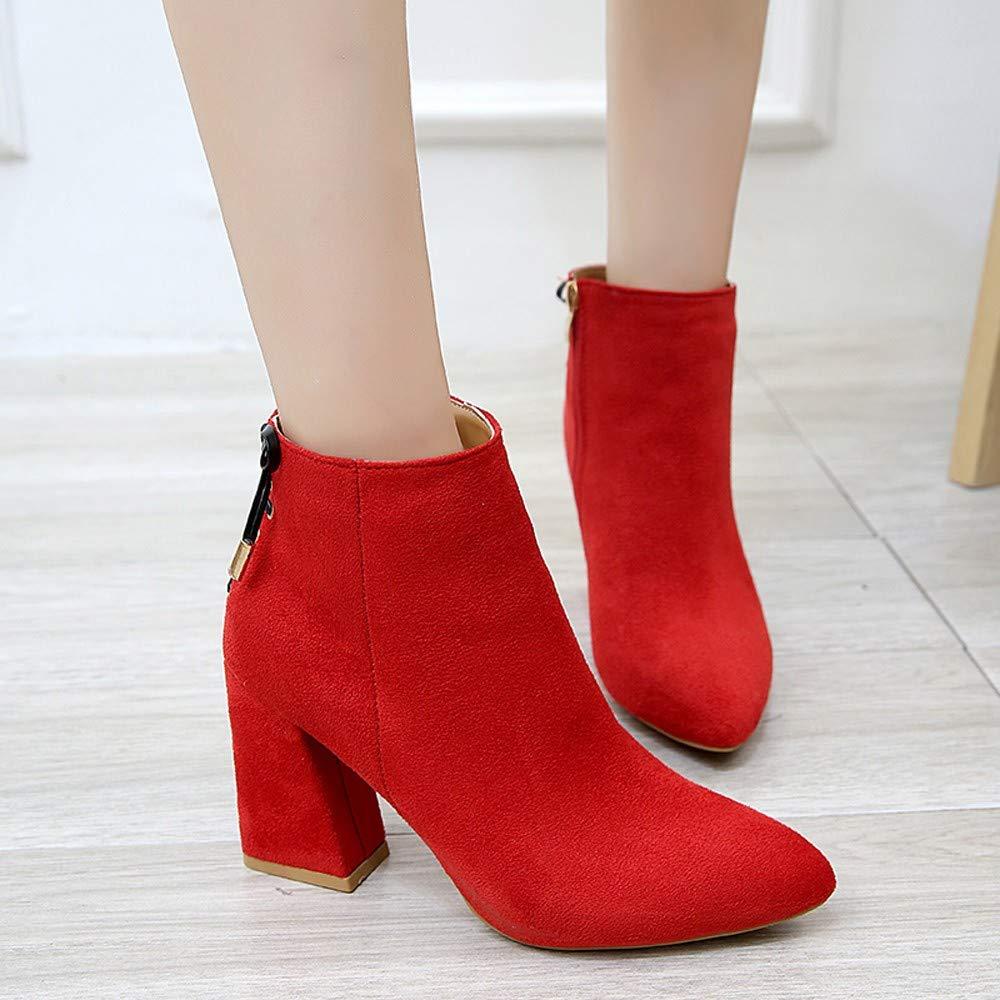 cbd67d8c6 Logobeing Botines rojos para mujer con Tacon Botas de Mujer con Punta de  Cabeza Gruesa Botines de Altas Botas con Tobillo Clásica Fiesta Zapatos  (37