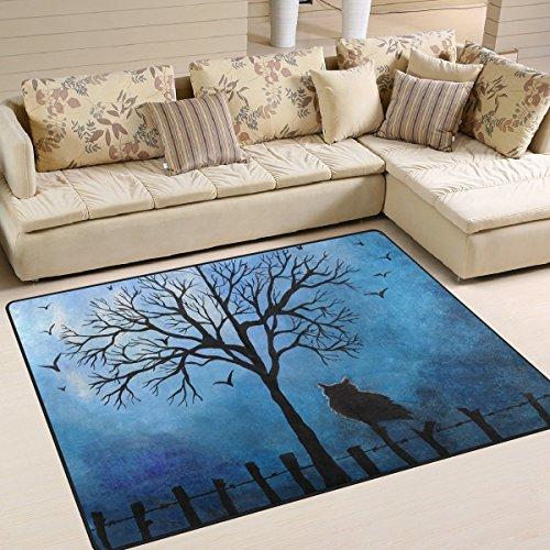 Domoko Halloween Eule Baum Nacht Landschaft Natur Bereich Teppich Teppiche für Wohnzimmer Schlafzimmer 160cm x 122cm (5,3x ()