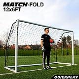 QUICKPLAY PRO Match-Fold 3.7 x 1.8M Gamma di obiettivi da calcio portatili con borsa da trasporto [Obiettivo singolo] Obiettivo di calcio pieghevole con impostazione rapida per club, allenatori e il miglior obiettivo di calcio sul mercato - NUOVE TAGLIE PER IL 2021