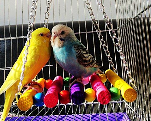 DSstyles Colorful Bird Ladder Wooden Bird Swing Hanging Toys Birdcage Hammock for Pet Bird Parrot Parakeet Budgie… 6