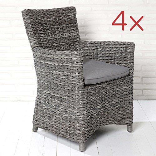 Gartensessel Gartenmöbel 4er Set Gartenstühle Stuhl Armlehnenstuhl grau Husum