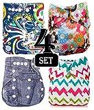 Babymoon (Set of 4) Premium Washable Cloth Diaper for Babies, Designer, Reusable, Adjustable