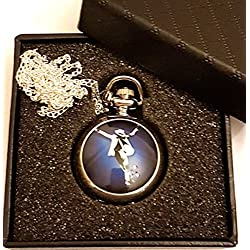 Michael Jackson - King Of Pop Quartz Pocket Watch Necklace - Silver Plated Chain - GIFT BOXED WITH FREE SPARE BATTERY