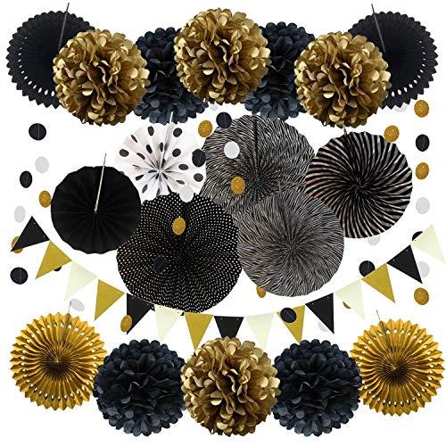 Stück schwarz und Gold hängende Papierfächer, Pom Poms Blumen, Girlanden String Polka Dot und Dreieck Bunting Flaggen für Geburtstagsfeiern Hochzeit Dekor, Tisch & Wanddekorationen ()