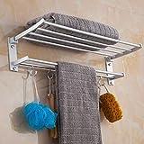 Komost Rerii Bath Towel Rack with Towel Bar, Wall-Mounted Aluminum Alloy Bathroom Towel Storage Organiser Shelf, Foldable Bath Double Towel Shelf, Towel Holder with 5 Hooks