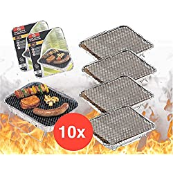 TK Gruppe Timo Klingler 10x Einweggrill Einmalgrill Campinggrill Holzgrill Grill aus Aluminium zu Grillen Aluschale mit Kohle Holzkohle Picknickgrill Holzkohlegrill Grillkohle