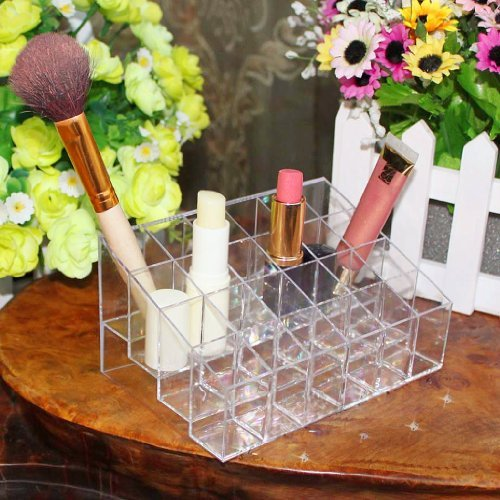 Support Présentoir de Rouge à Lèvres à 24 Compartiments en Acrylique Transparent Organisateur de Cosmétique Maquillage
