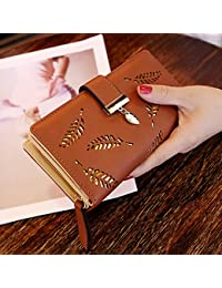 RONSHIN Women Hollow Out Leaf Long Clutch Purse Card Holder Bifold Leather Wallet