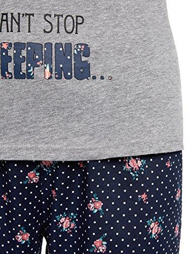 oodji Ultra Femme Pyjama Coton avec Pantalon Bleu (7923O)